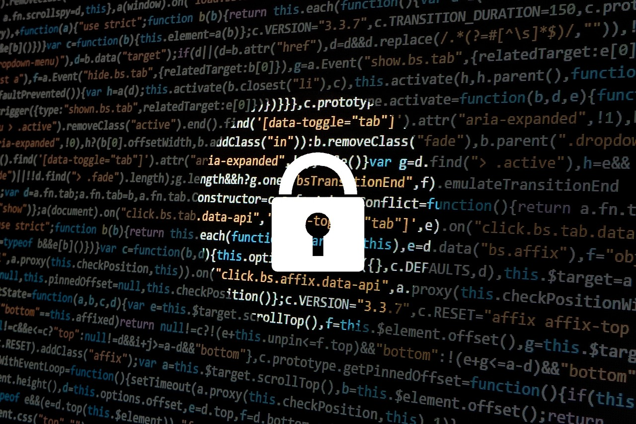 A security padlock on list of codes
