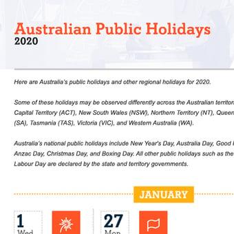 Australian Public Holidays in 2020