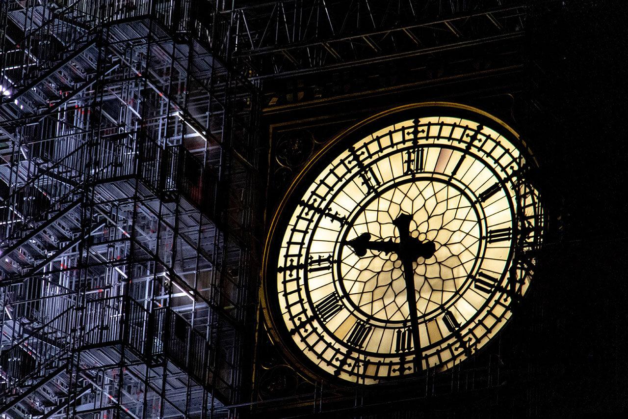 close-up shot of Elizabeth Tower under renovation